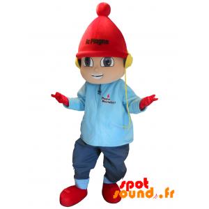 Boy Mascot Dressed In Winter Attire. La Plage - MASFR034290 - mascotte