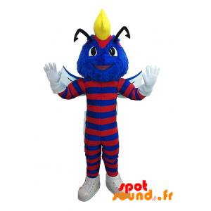 Mascotte d'insecte, de chenille bleue et rouge