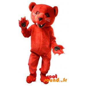 Mascotte d'ours rouge rugissant et intimidant - MASFR034293 - Mascotte d'ours