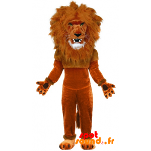 Brown Lion Mascot With Great Mane - MASFR034294 - Lion mascots