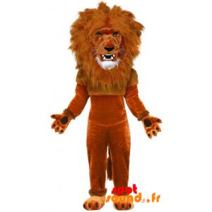 Brun lejonmaskot med en stor man - Spotsound maskot