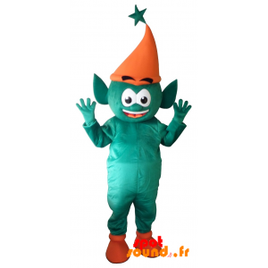 Mascotte de lutin vert, d'elfe géant. Mascotte féerique
