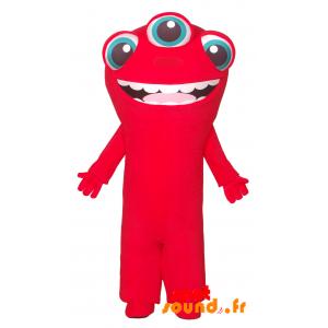 Mascotte d'extra-terrestre rouge à 3 yeux - MASFR034298 - Mascottes de monstres