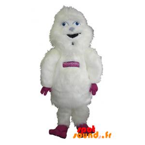 Mascotte de yéti blanc et rose, géant et poilu - MASFR034302 - Mascottes de monstres