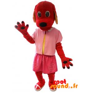 Mascotte de chien rouge habillé en rose. Costume de chien - MASFR034315 - Mascottes de chien