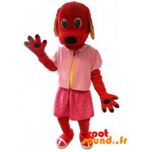 Rød hund maskot klædt i lyserød. Hundedragt - Spotsound maskot