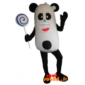 Mascotte de panda noir et blanc, très amusant