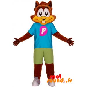Mascotte d'écureuil, de castor marron avec une tenue colorée