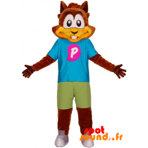 Squirrel Mascot, Brown Beaver With A Colorful Outfit - MASFR034317 - Beaver mascots