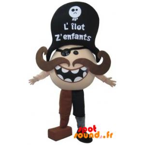 Mascotte de pirate moustachu. Costume de bonhomme moustachu