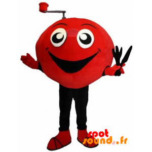 Mascotte de bonhomme jovial, rouge et noir - MASFR034322 - Mascottes Homme
