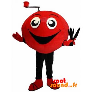 jovial mascota del muñeco de nieve, rojo y negro - MASFR034322 - mascotte