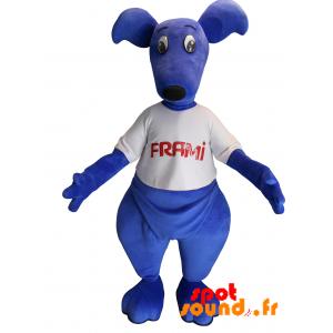 Mascotte de kangourou bleu avec un t-shirt. Mascotte Frami