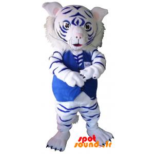 Mascot vit och blå tiger. Baby leopard maskot - Spotsound maskot
