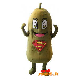 Green Pickle Mascot With Superman Logo On The Belly - MASFR034333 - Mascot of vegetables