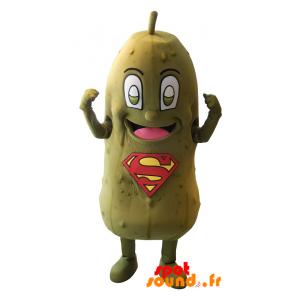 Mascotte de cornichon vert avec le logo SuperMan sur le ventre