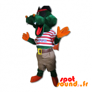 Mascotte de crocodile vert en tenue de pirate