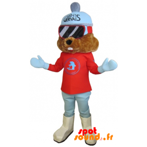 Mascotte de marmotte marron habillée en tenue de ski