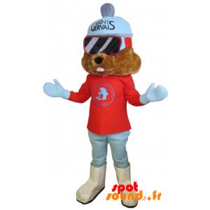 Mascotte de marmotte marron habillée en tenue de ski - MASFR034336 - Animaux de la forêt