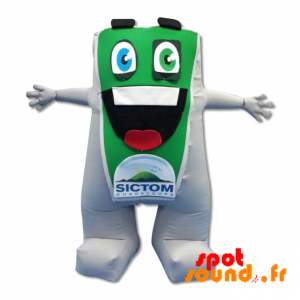 Green And White Snowman Mascot With A Big Mouth - MASFR034341 - mascotte