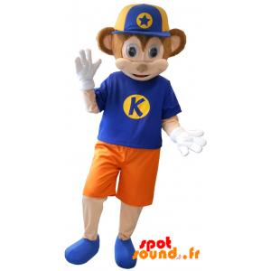 Mascotte de singe marron et rose habillé d'une tenue colorée - MASFR034344 - Mascottes Singe