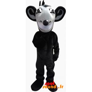 Grå og sort rotte maskot med store ører - Spotsound maskot