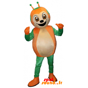 Mascot Green And Orange Ladybug, Cute And Smiling - MASFR034349 - Mascots insect