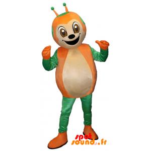 Mascotte de coccinelle verte et orange, mignonne et souriante