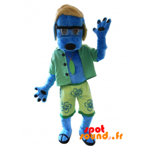 Blå hundemaskot klædt som en ferierende. Sommer maskot -