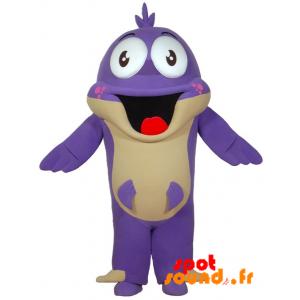 Mascotte de poisson violet avec une grande bouche. Mascotte fun