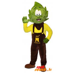 Mascotte de bonhomme avec la tête en forme de feuille d'arbre - MASFR034359 - Mascottes Homme