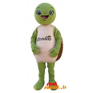 Grøn og brun skildpaddemaskot, rund og sjov - Spotsound maskot