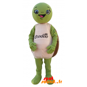 Mascot Green Turtle And Brown, Round And Funny - MASFR034360 - Mascots turtle