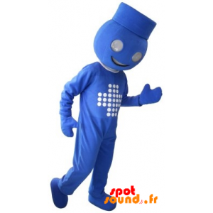 Mascotte de bonhomme bleu, de maitre d'hôtel - MASFR034362 - Mascottes Homme