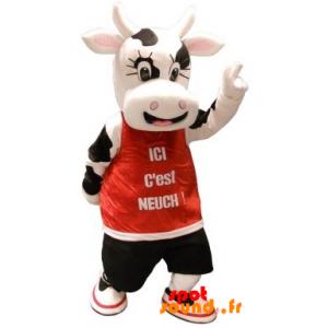 Mascotte de vache blanche et noire, avec un dossard rouge - MASFR034363 - mascotte