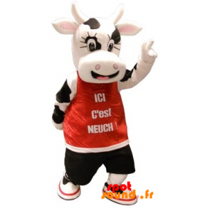 Mascot Of Black And White Cow With A Red Bib - MASFR034363 - mascotte