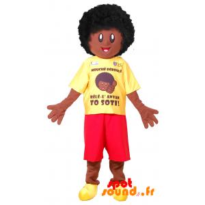 Afro dreng maskot. Afrikansk maskot - Spotsound maskot