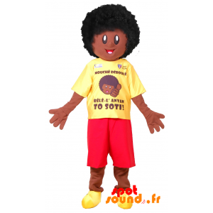Mascotte de garçon afro. Mascotte d'Africain - MASFR034365 - Mascottes Homme