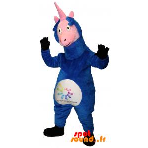 Mascotte de licorne, d'animal fantastique bleu et rose