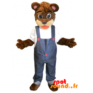 Brown And Beige Teddy Mascot Overalls - MASFR034368 - Bear mascot