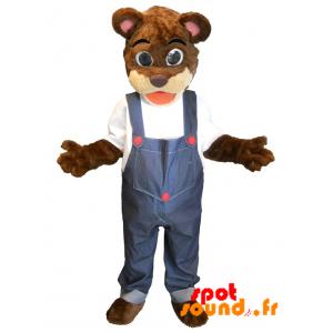 Mascotte de nounours marron et beige en salopette - MASFR034368 - Mascotte d'ours