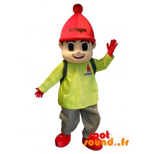 Mascotte de sport d'hiver. Mascotte de garçon en tenue de ski - MASFR034371 - Mascotte sportives