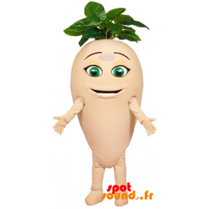 Mascotte de navet, de radis géant avec des feuilles - MASFR034373 - Mascotte de légumes