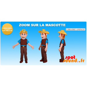 Cowboy Mascot Dressed In Traditional Dress - MASFR034375 - mascotte