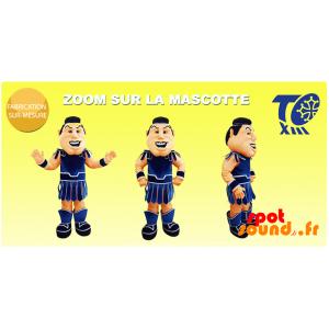 Gladiator maskot med en traditionell blå outfit - Spotsound
