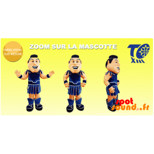 Gladiator maskot med et traditionelt blåt tøj - Spotsound maskot
