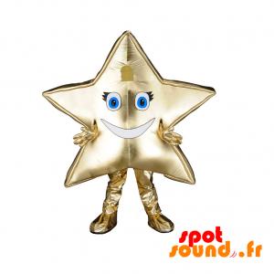 Kæmpe og smilende gylden stjernemaskot. Stjernekostume -
