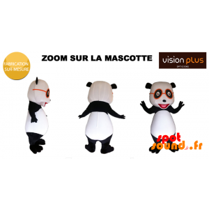 Mascotte de panda géant avec des lunettes orange - MASFR034379 - Mascotte de pandas