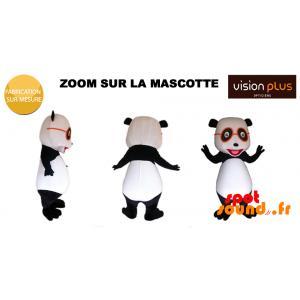 Mascotte de panda géant avec des lunettes orange