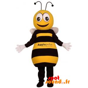 Mascotte d'abeille jaune et noire, mignonne et attendrissante - MASFR034381 - mascotte